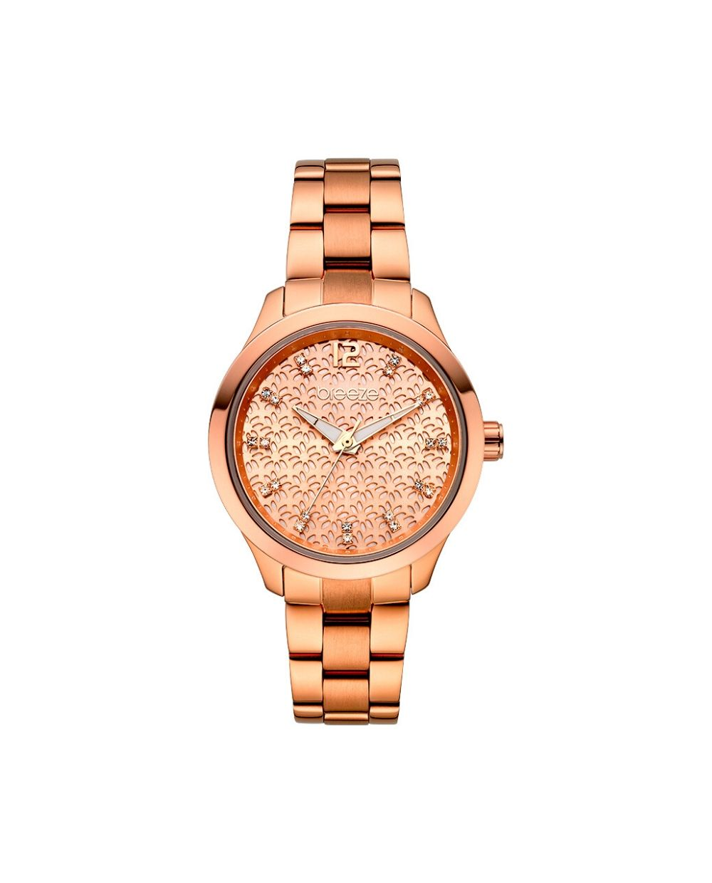 breeze womenswear in pink gold, with bracelet and pink gold dial with decorative details. Find it at Atofio in Korydallos.