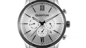Ρολόι QUANTUM Mens Dual Time ADG868.330 με ασημί μαύρο μπρασελέ και ασημί καντράν. Βρείτε το στο Ατόφιο στον Κορυδαλλό.
