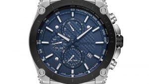 Ρολόι QUANTUM Mens Dual Time HNG800.390 με ασημί μπρασελέ και μπλε καντράν. Βρείτε το στο Ατόφιο στον Κορυδαλλό.