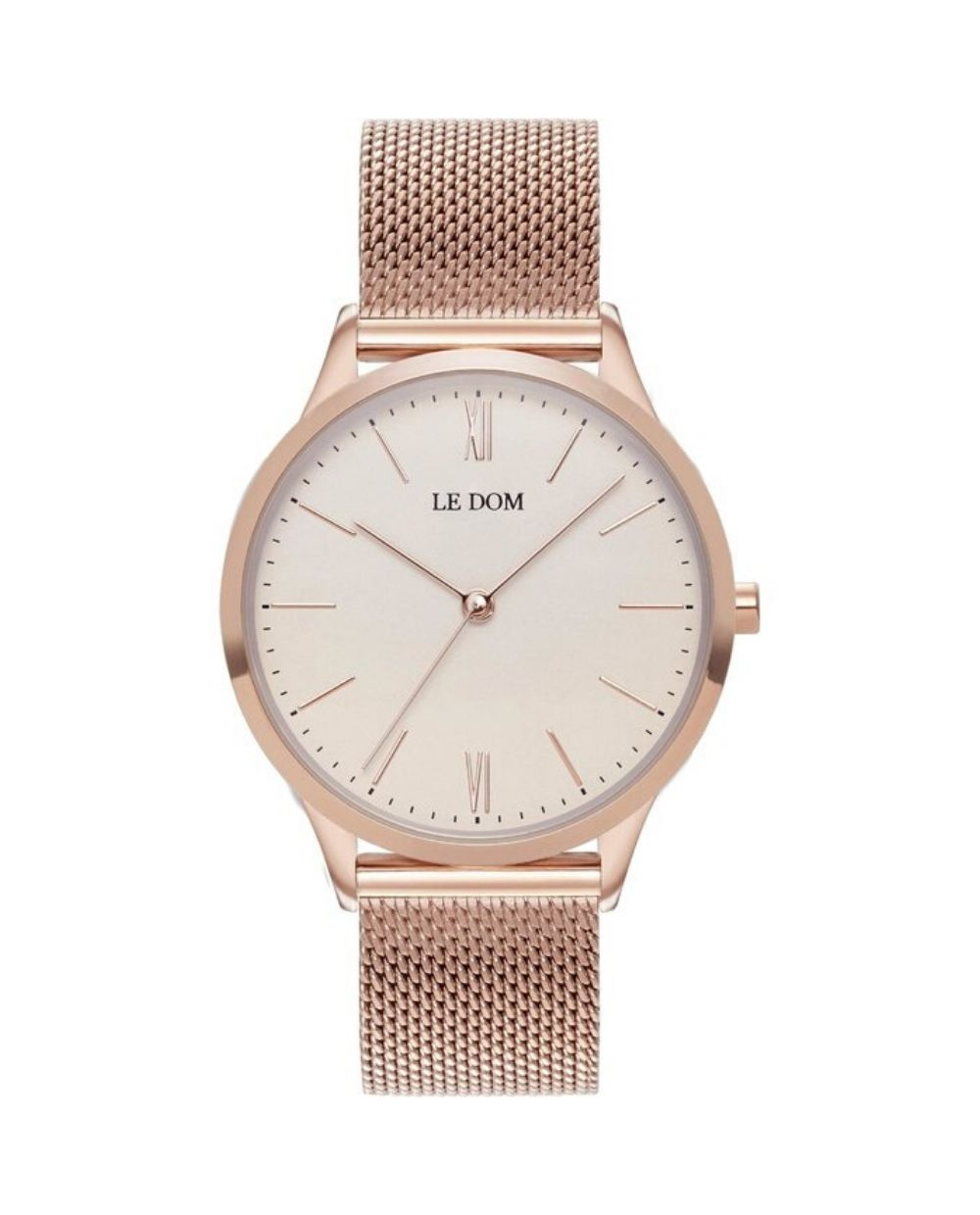 LE DOM Classic Rose Gold LD.1000-20 watch with knitted bracelet, pink gold. Find it at Atofio in Korydallos.