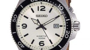 Seiko SKA749P1 Με Δερμάτινο Λουρί καφέ και λευκό καντράν.Βρείτε το στο Ατόφιο στον Κορυδαλλό.