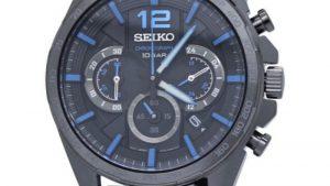 Seiko SSB353P1 Quartz με μαύρο λουράκι σιλικόνης και μαύρο καντράν. Βρείτε το στο Ατόφιο στον Κορυδαλλό.