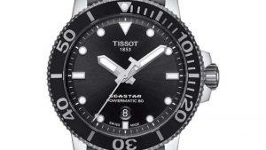 TISSOT T-Sport Seastar 1000 Powermatic 80 Stainless Steel Bracelet T1204071105100 με μαύρο καντράν και μπρασελέ από ανοξείδωτο ατσάλι. Βρείτε το στο Ατόφιο στον Κορυδαλλό.