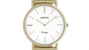OOZOO C9908 με Χρυσό Πλεκτό Bracelet και Λευκό Καντράν. Βρείτε το στο Ατόφιο στον Κορυδαλλό.