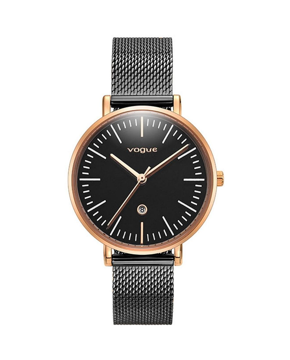 Vogue Women's Watch 812851 with black bracelet and pink frame. Find it at Atofio Jewelry in Korydallos.